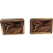 Vintage Krementz Gold Filled Bowling Alley Man Cufflinks