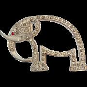 Vintage Art Deco Era Pot-metal Paste Rhinestone Large Elephant Pin Brooch