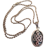 Vintage Irish Celtic Knot Motif Heavy Sterling Silver Unisex Necklace
