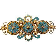 Vintage Leo Glass Big Enamel Victorian Revival Pin Brooch