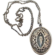 Vintage Sterling Silver Caged Filigree Miraculous Medal Charm on Chain