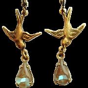 German Saphiret Glass Bird Figural Dangle Leverback Earrings