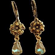 German Saphiret Glass Flower Dangle Leverback Earrings