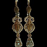 German Saphiret Glass Beetle Figural Dangle Leverback Earrings