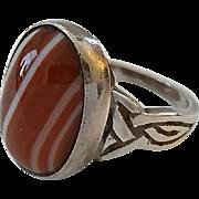 """Vintage Sterling Silver Scottish Celtic Knot Banded Agate Ring Size 8 1/2"""""""