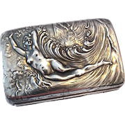 Antique Art Nouveau Unger Bros. Sterling Silver Nude Venus In Waves Cigarette Case