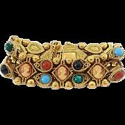 Vintage Unsigned Goldette Extra Wide Cameo Slide Bracelet