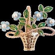 Vintage Krementz Gold Filled Enamel Pearl Forget Me Not Flower Basket Pin Brooch