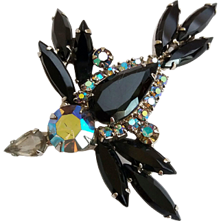 Juliana D&E Bird In Flight Jet Black Aurora Borealis Rhinestone Figural Brooch Pin