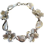 Vintage Sterling Silver Dogwood Flower Leaves Bracelet