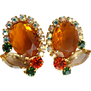 Vintage Juliana D&E Topaz Citrine Color Rhinestone Clip Earrings
