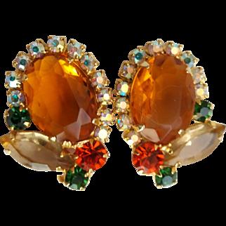 Vintage Juliana D&E Topaz Citrine Color Rhinestone Clip Earrings