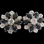 Vintage Big Bold 50's Black & Clear Rhinestone Clip Earrings