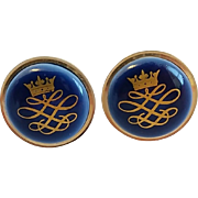 Vintage Royal Copenhagen Porcelain Blue Gold Crown Cufflinks