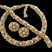 Vintage Trifari Faux Pearl Rhinestone Necklace Bracelet Earrings Demi Parure Set