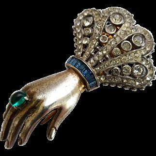 "Vintage 1940's Trifari ""Alfred Philippe"" Rhinestone Figural Hand Sterling Silver Pin Clip"