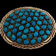 Vintage Big Bold Sterling Silver Gold Filled Edge Turquoise Belt Buckle