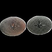 Vintage Oval Sterling Silver Florentine Finish Starburst Cufflinks