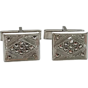 Vintage Rhodium Plated Sterling Silver Marcasite Cufflinks