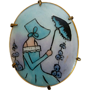 Vintage Art Deco Era Lady With Bonnet & Parasol Hand Painted Porcelain Brooch Pin