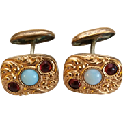 Early 1900's Gold Plated Front Opal Glass Red Paste Cufflinks
