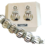 Vintage 1950's Rhodium Plated Rhinestone Flower Pot Bracelet Screwback Earrings Set