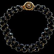 Vintage Hattie Carnegie Jet Black Faceted Glass Fancy Clasp Necklace