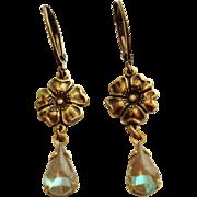 Saphiret Glass Floral Dangle Leverback Earrings