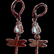 Saphiret Glass Artisan Dragonfly Dangle Earrings Leverback
