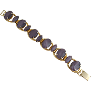 Soft Lilac Purple Moonglow Glass Cabochon Link Bracelet