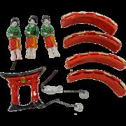Rare Japanese Bonsai Garden Miniature Geisha Lady Figures Bridge Arch Figurines