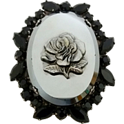 Vintage Juliana D&E Black Rhinestone Pressed Metallic Glass Rose Pin Brooch