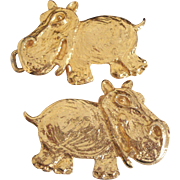 Vintage Happy Hippos Belt Buckle Designer Signed Mimi Di N Niscemi