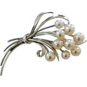 Mikimoto Sterling Silver Cultured Akoya 9 Pearls Swag Bouquet Brooch Pin
