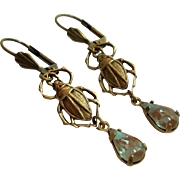 Antiqued Brass Scarab Beetle  Saphiret Glass Earrings