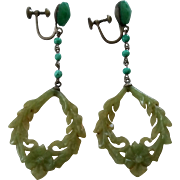 Art Deco Era Faux Jade Colored Glass Carved Celluloid Screwback  Pendant Earrings