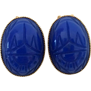 Vintage Large Chunky Blue Glass Scarab Goldtone Clip Earrings