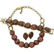 Vintage Big Chunky Bold Confetti Lucite Goldtone Necklace Bracelet Earrings Set