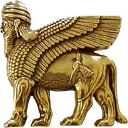Vintage Signed MMA Egyptian Revival Sphinx Figural Brooch Pin Pendant