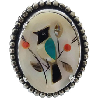 Vintage Sterling Silver Inlaid Mother Of Pearl Bird Ring