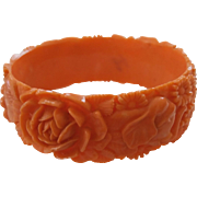 Vintage Carved Celluloid Salmon Faux Coral Elephants Flowers Bracelet Japan