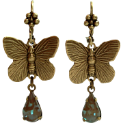 Antiqued Brass Butterfly Saphiret Glass Leverback Dangle Earrings