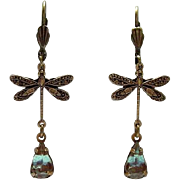 German Saphiret Glass Dragonfly Figural Dangle Leverback Earrings