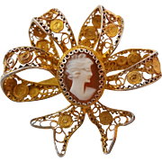 Gilt Goldtone 800 Silver Lacey Filigree Carved Shell Cameo Bow Brooch Pin