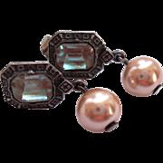 Antiqued Silvertone Saphiret Glass Faux Pearl Dangle Earrings