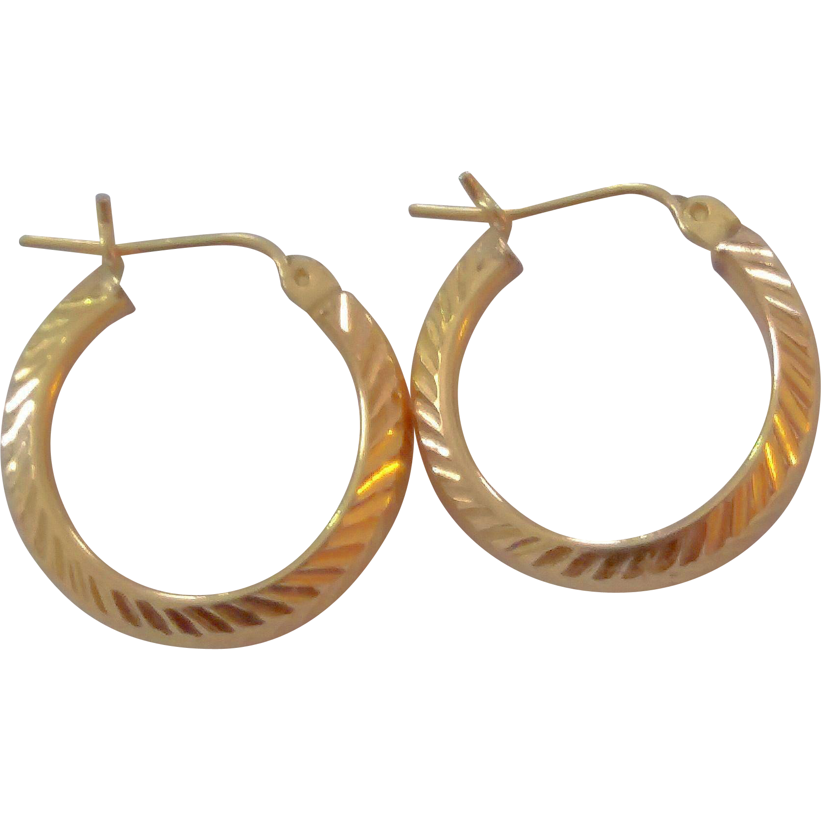 Classic 14k Yellow Gold Textured Hoop Earrings