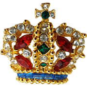 Vintage Royal Crown Colorful Rhinestone Pin Brooch Signed Carina