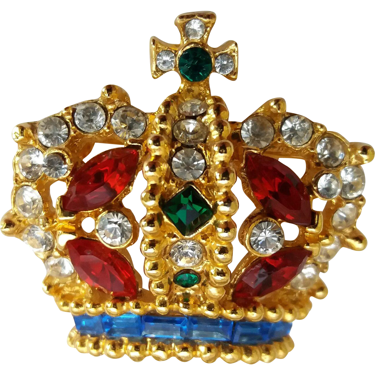 Vintage Royal Crown Colorful Rhinestone Pin Brooch Signed Carina