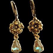 Teardrop Saphiret Glass Oxidized Brass Floral Dangle Leverback Earrings
