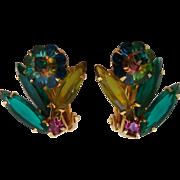 Vintage Juliana D&E  Marguerite Watermelon Rivoli Flower Rhinestone Clip Earrings